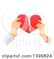 Clipart Of Hands Of A Couple Breaking A Heart Royalty Free Vector Illustration