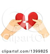 Hands Of A Couple Fitting Together Puzzle Pieces Of A Heart