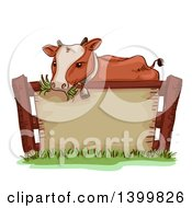Clipart Of A Sketched Cow Wearing A Bell And Chewing Grass Over A Blank Sign Royalty Free Vector Illustration