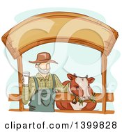 Clipart Of A Sketched Dairy Farmer Holding A Glass Of Milk And Standing With A Cow Under A Sign Royalty Free Vector Illustration