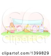 Clipart Of A Row Of Sketched Carnival Booths Under A Banner Royalty Free Vector Illustration by BNP Design Studio