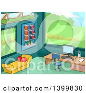 Clipart Of A Sketched Office Interior With A Scenic View Royalty Free Vector Illustration