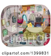 Clipart Of A Sketched Messy And Cluttered Room Royalty Free Vector Illustration by BNP Design Studio