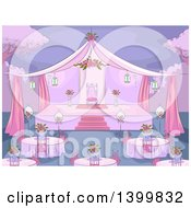Clipart Of A Sketched Pink Debut Party Scene Royalty Free Vector Illustration