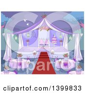 Sketched Purple Wedding Reception Party Set Up