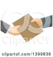 Clipart Of Hands Exchanging An Envelope Royalty Free Vector Illustration