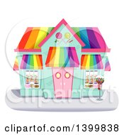 Clipart Of A Colorful Candy Shop Building Royalty Free Vector Illustration by BNP Design Studio