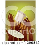 Clipart Of A Crowd Of Starving Hands Holding Up A Cup And Plate Royalty Free Vector Illustration