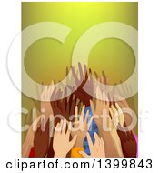 Clipart Of A Crowd Of Hands Reaching Royalty Free Vector Illustration