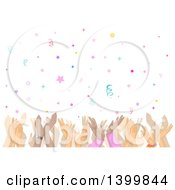 Clipart Of A Border Of Clapping Hands Under Confetti Royalty Free Vector Illustration