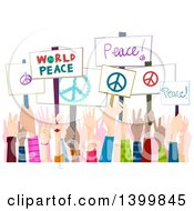 Clipart Of Hands Holding Up Peace Rally Signs Royalty Free Vector Illustration by BNP Design Studio
