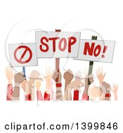 Clipart Of Hands Holding Up Disapproving Signs Royalty Free Vector Illustration by BNP Design Studio