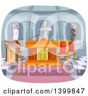 Clipart Of A Church Interior Royalty Free Vector Illustration by BNP Design Studio