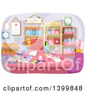 Clipart Of A Table In A Craft Room Royalty Free Vector Illustration by BNP Design Studio