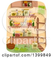 Clipart Of A Pantry With A Ladder Canned Foods And Herbs Royalty Free Vector Illustration by BNP Design Studio