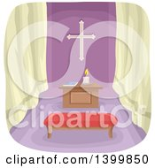 Clipart Of A Prayer Room Royalty Free Vector Illustration