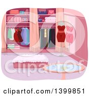 Clipart Of A Luxury Closet Interior Royalty Free Vector Illustration by BNP Design Studio