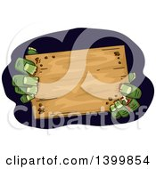 Clipart Of Zombie Hands Holding A Blank Wood Sign Royalty Free Vector Illustration