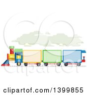 Clipart Of A Colorful Train With Text Space On The Cars Royalty Free Vector Illustration