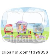 Sketched Banner Over Cars Loaded With Items For Sale