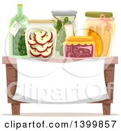Clipart Of A Table With Canned Goods Over A Sign Royalty Free Vector Illustration