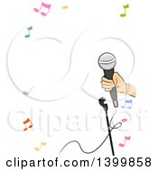Border Of A Hand Holding A Microphone And Music Notes