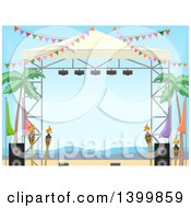 Clipart Of A Stage On A Tropical Beach Royalty Free Vector Illustration