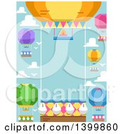 Clipart Of A Border Of Hot Air Balloons Against Sky Royalty Free Vector Illustration by BNP Design Studio