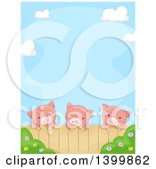 Clipart Of A Border Of A Cute Pigs Looking Over A Fence Royalty Free Vector Illustration by BNP Design Studio