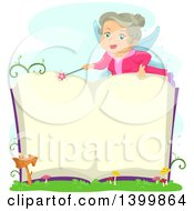 Clipart Of A Senior Fairy Woman Opening A Magic Book Royalty Free Vector Illustration