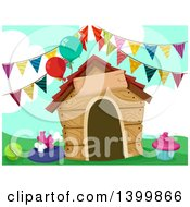 Clipart Of A Dog House With Party Decorations Royalty Free Vector Illustration