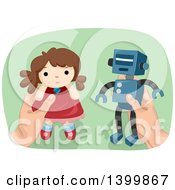 Clipart Of A Mans Hands Holding A Robot And Doll Royalty Free Vector Illustration by BNP Design Studio