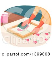 Clipart Of A Woman Painting Tulip Silk Screen Royalty Free Vector Illustration