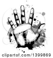 Clipart Of A Hand With Splatters Royalty Free Vector Illustration