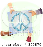 Clipart Of A Group Of Hands Holding Together Pieces Of A Peace Painting Royalty Free Vector Illustration