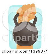 Clipart Of A Mans Hand Holding A Kettlebell Royalty Free Vector Illustration