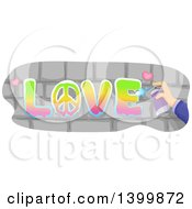Clipart Of A Hand Spray Painting LOVE On Bricks Royalty Free Vector Illustration