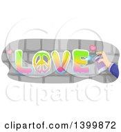 Poster, Art Print Of Hand Spray Painting Love On Bricks