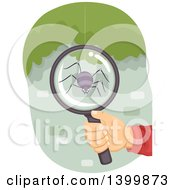 Clipart Of A Hand Holding A Magnifying Glass Over A Spider Royalty Free Vector Illustration by BNP Design Studio
