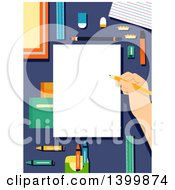 Clipart Of A Hand Holding A Pencil Over A Blank Piece Of Paper Bordered With Art Supplies Royalty Free Vector Illustration by BNP Design Studio