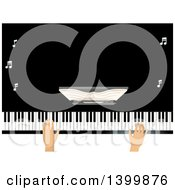 Clipart Of A Mans Hands Playing A Grand Piano Royalty Free Vector Illustration