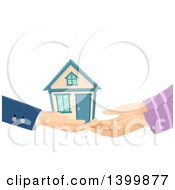 Clipart Of A Realtor Handing A House Over To A Buyer Royalty Free Vector Illustration