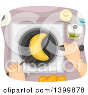 Clipart Of A Person Cooking A Moon Pancake Royalty Free Vector Illustration
