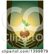 Clipart Of A Seedling Plant Supported By Hands Royalty Free Vector Illustration