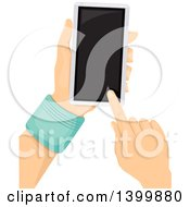 Clipart Of A Pair Of Hands Using A Touch Screen Smart Phone Royalty Free Vector Illustration