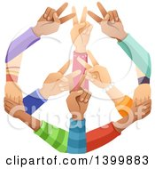 Clipart Of A Peace Sign Made Of Hands Royalty Free Vector Illustration