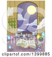 Clipart Of A Witchs Counter With A View Of A Full Moon Royalty Free Vector Illustration