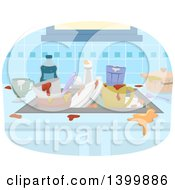 Clipart Of A Sink Piled With Dirty Dishes Royalty Free Vector Illustration by BNP Design Studio