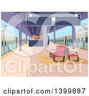 Clipart Of A Deserted Train Station Royalty Free Vector Illustration