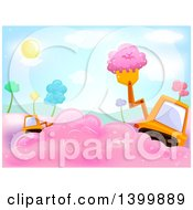 Clipart Of A Tractor Payloader Scooping Cotton Candy Royalty Free Vector Illustration
